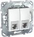 Цены на Телефонная розетка двойная 4 контакта Schneider Electric UNICA белая MGU5.9090.18ZD