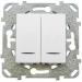 Цены на Выключатель двухклавишный с подсветкой Schneider Electric UNICA белый MGU5.0101.18NZD