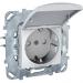 Цены на Электрическая розетка с заземлением со шторками с защитной крышкой винтовой зажим IP20 Schneider Electric UNICA белая MGU5.037.18TAZD