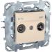 Цены на Телевизионная розетка TV - FM - SAТ проходная Schneider Electric UNICA бежевая MGU5.456.25ZD