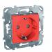 Цены на Электрическая розетка с заземлением со шторками винтовой зажим Schneider Electric UNICA красный MGU5.037.03ZD